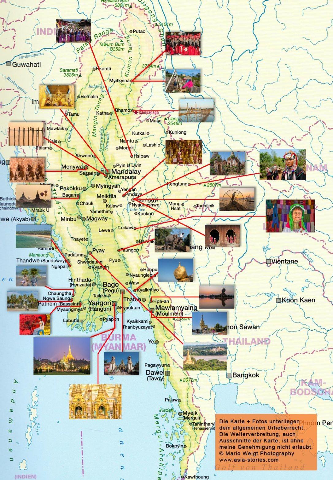 Eine Karte für das Reiseland Myanmar (Burma) mit den wichtigsten Sehenswürdigkeiten und Highlights des Landes. Die detailierte Karte zeigt die Namen Städte und Fotos mit den interessantesten Orten, die der Reisende bei seiner Tour durch Myanmar (Burma) besuchen sollten. Die Karte ist aus dem Bildband