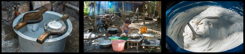 Essen in Myanmar | Nationalgericht Mohinga | Nudelherstellung zwischen Ngwe Saung Beach und Chaungtha Beach