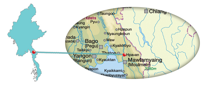 Myanmar - Karte von Hpa-an