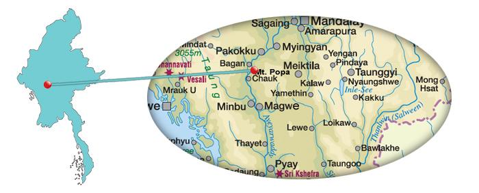 Myanmar - Karte von Mount Popa Taung Kalat