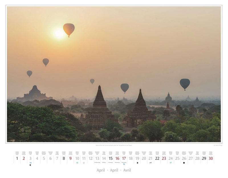 Monat April: Ballons über der Tempelebene von Bagan
