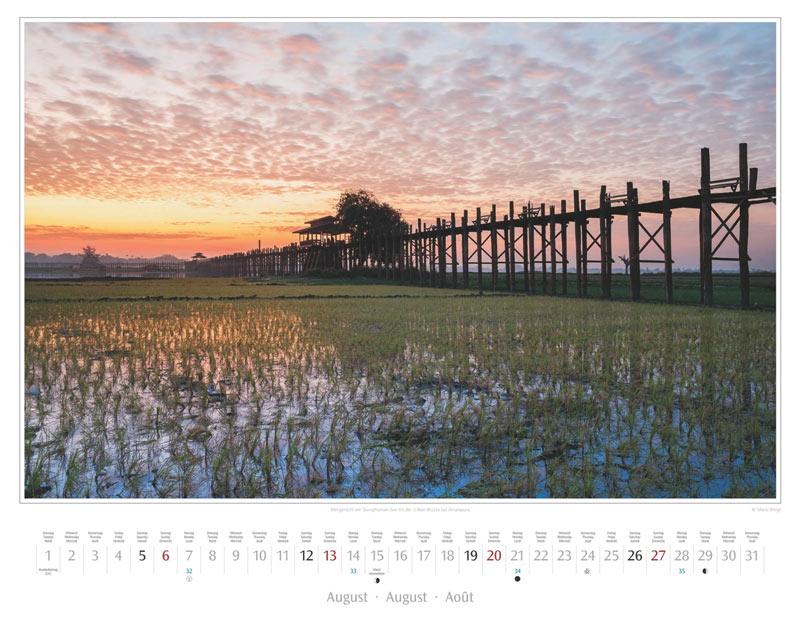 Monat August vom Wandkalender 2017 Myanmar | Burma