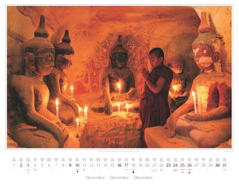 Monat Dezember vom Wandkalender 2017 Myanmar | Burma