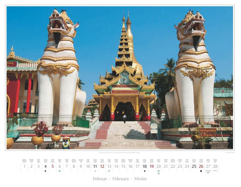 Monat Februar vom Wandkalender 2017 Myanmar | Burma
