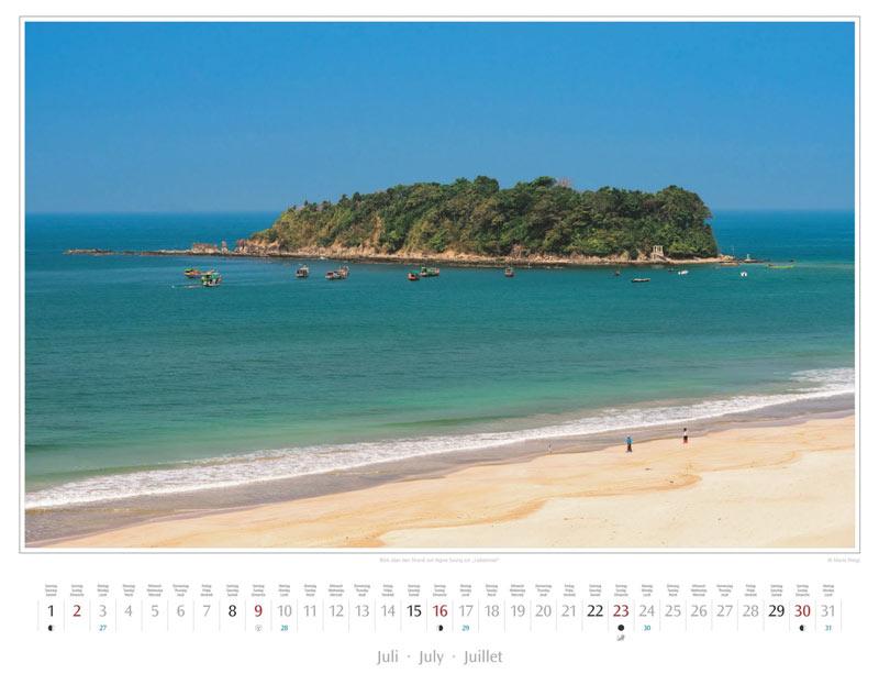 Monat Juli vom Wandkalender 2017 Myanmar | Burma