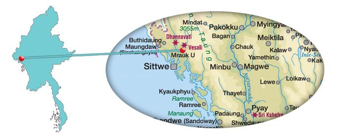Myanmar - Karte von Mrauk U