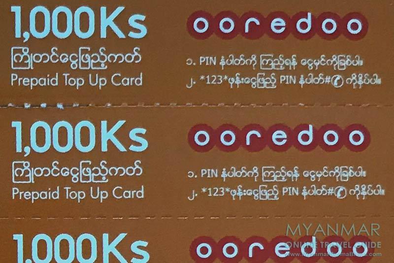 Myanmar Reisetipps   Internet und Telefon   Ooredoo Prepaid Karte