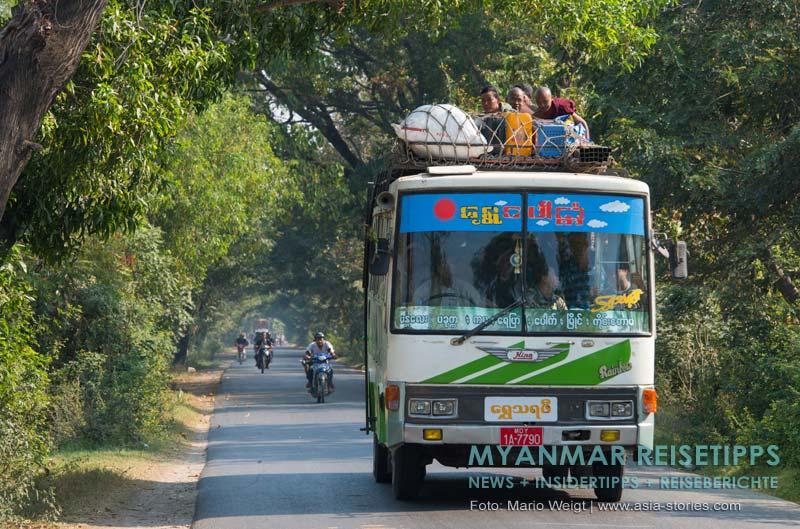 Myanmar Reisetipps | Goldener Felsen Kyaikhtiyo | Anfahrt mit dem Bus