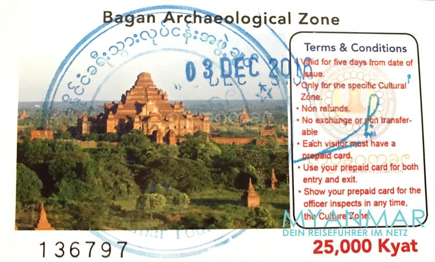 Reisetipps Myanmar - Ticket für Bagan