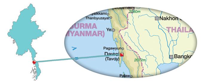 Myanmar - Karte von Dawei