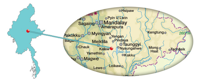 Myanmar - Karte von Kalaw