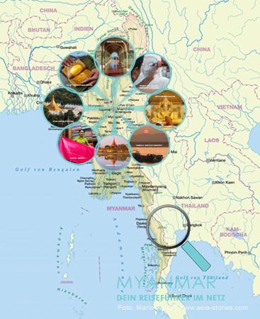 Myanmar Reisetipps - Karte mit Highlights von Mandalay