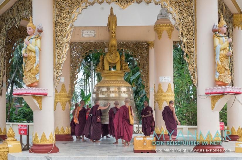 Reisetipps Myanmar - Dawei und die Strände | Buddhistisches Zentrum in Dawei: Die neue Glocke in der Pagode Shwe Taung Sar