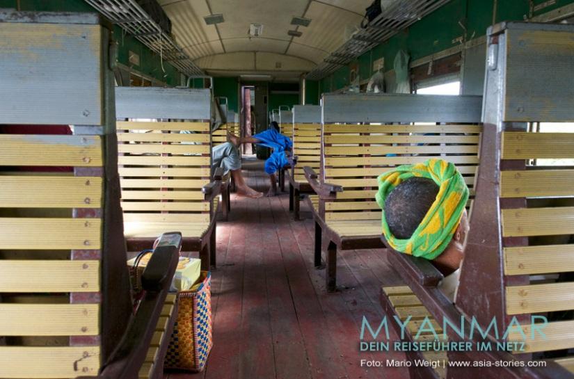 Myanmar Reisetipps - Platz ist genug im Zug von Shwe Nyaung (nahe Inle-See) nach Kalaw