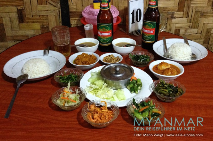 Myanmar Reisetipps - Essen und Getränke | So wird Myanmar Food serviert.