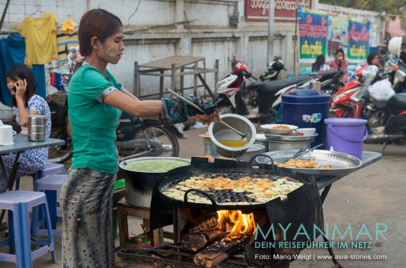 Myanmar Reisetipps - Essen und Snacks | Pfannküchlein