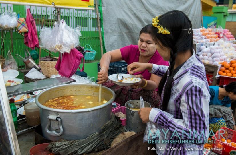 Myanmar Reisetipps - Essen und Getränke | Nationalgericht Mohinga