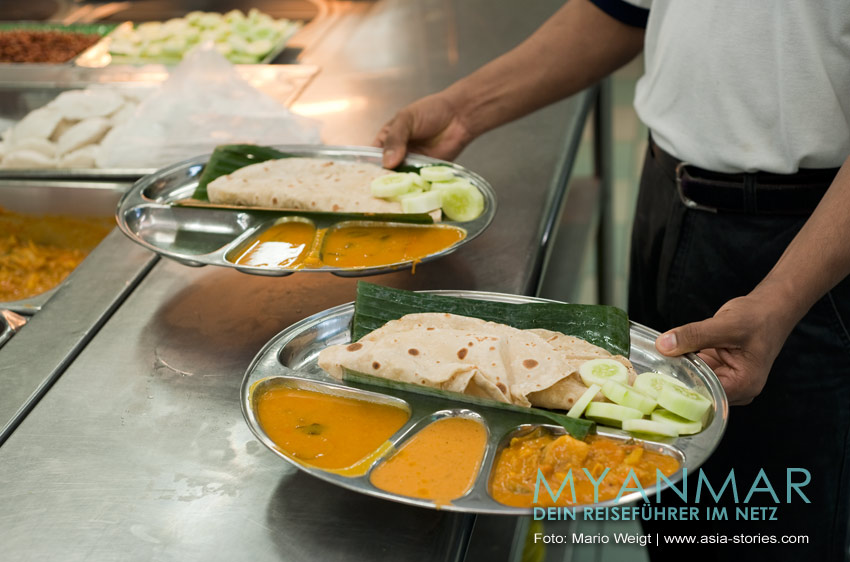 Myanmar Reisetipps - Essen und Snacks | Indisches Gericht