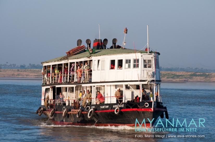Myanmar Reisetipps - Flussfahrten 2017 und 2018 auf dem Ayeyarwady mit der IWT Fähre