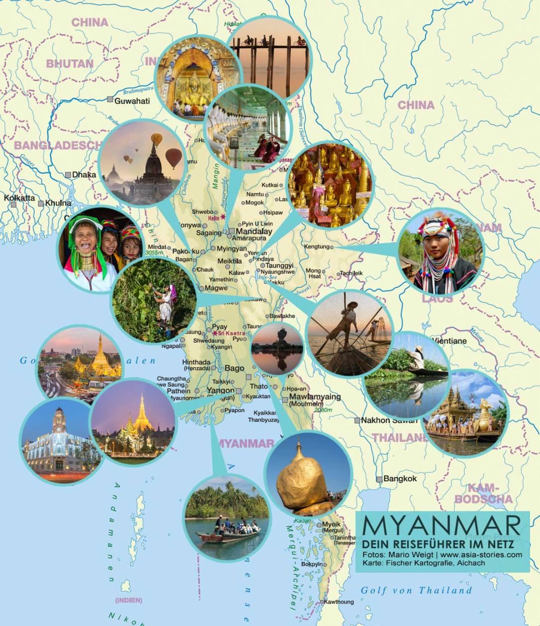 Diese Karte von Myanmar (Burma) zeigt die beliebtesten Orte, die bei geführten Fotoreisen angesteuert werden.