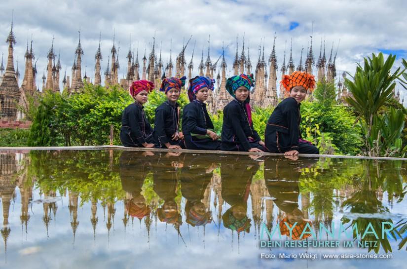 Myanmar Reisetipps | Kakku | Diese jungen Damen gehören dem Volk der Pa-O an.