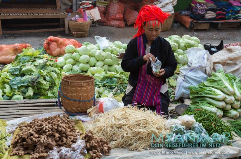 Myanmar Reisetipps - Marktstand in Kalaw