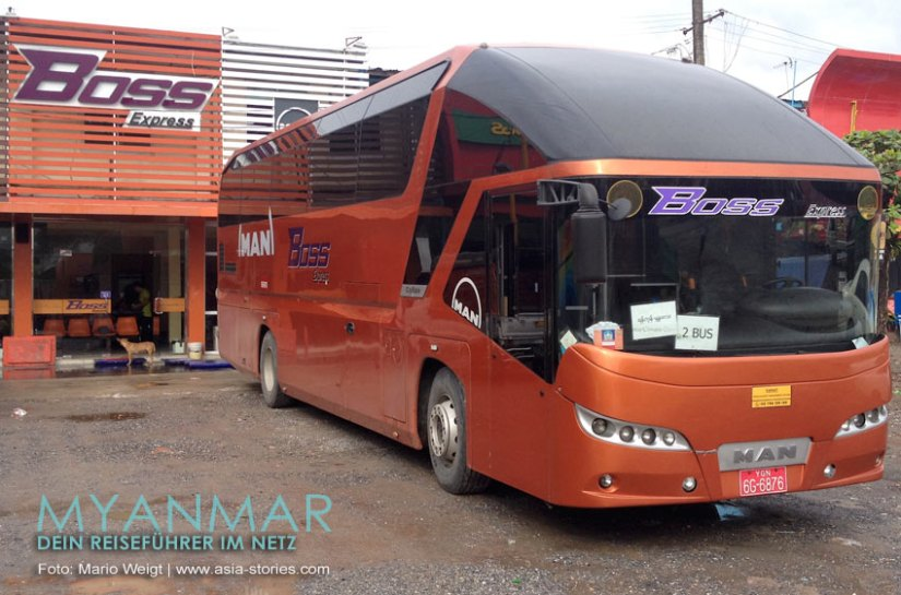 Myanmar Reisetipps - Mandalay   VIP-Bus vom Busunternehmen BOSS
