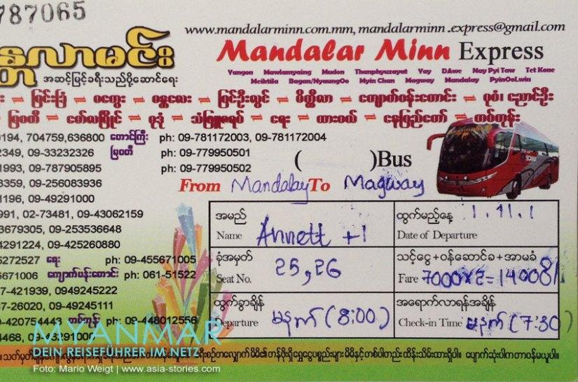 Myanmar Reisetipps - Mandalay   Busticket vom Reisebüro Ko Htay Express Travels Services