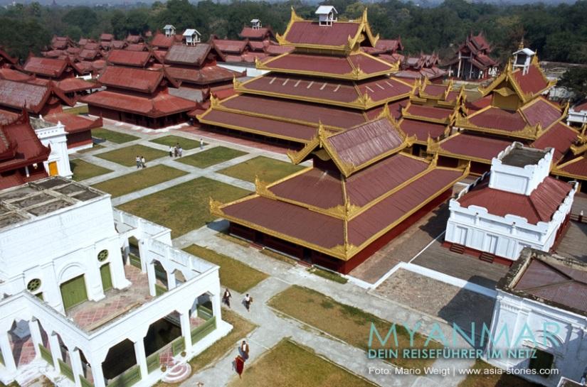 Myanmar Reisetipps - Königspalst in Mandalay   Blick vom Aussichtsturm