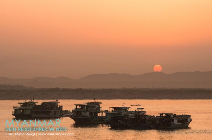 Myanmar Reisetipps - Sonnenuntergang am Ayeyarwady