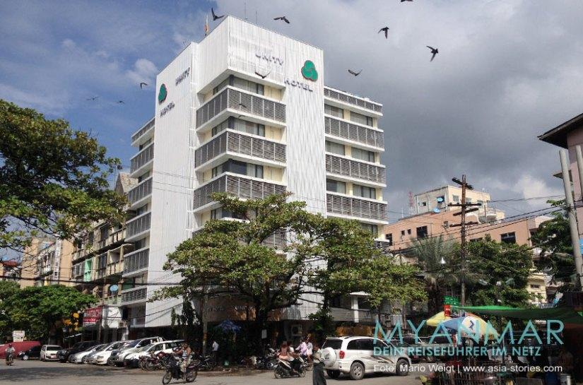 Myanmar Reisetipps - Mandalay   Aussenansicht von Unity Hotel