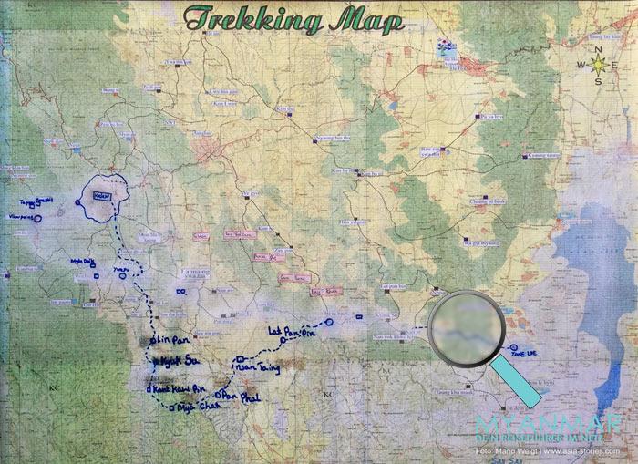 Myanmar Reisetipps - Trekkingkarte von Kalaw