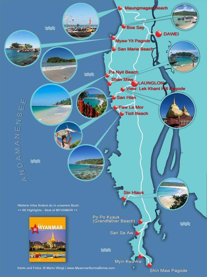 Karte von Dawei Peninsula: Strände und Fischerdörfer