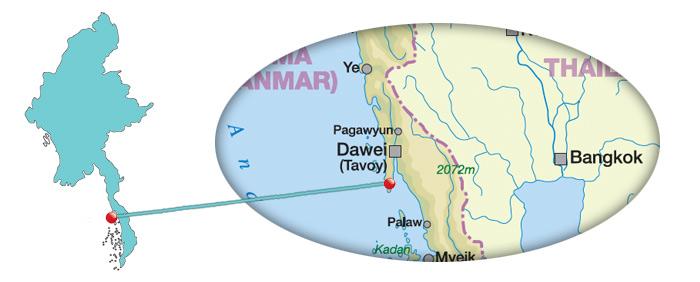 Myanmar - Karte von Dawei Peninsula