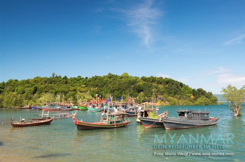 Myanmar Reisetipps - Dawei Peninsula | Fischerboote in der Lagune hinter dem San Maria Beach