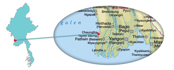 Myanmar - Karte vom Chaungtha Beach