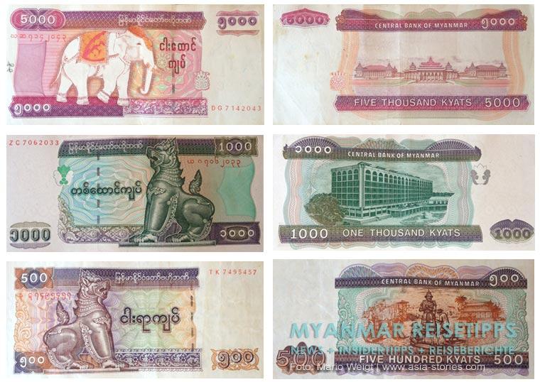 Myanmar Reisetipps | Alles rund ums Geld: 5.000, 1.000 und 500 Kyat