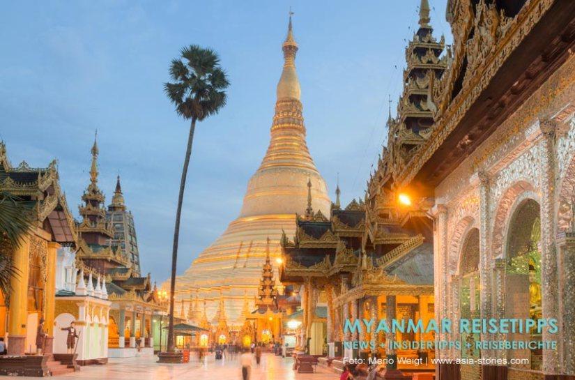 Myanmar Reisetipps | Yangon | Shwedagon-Pagode am Abend