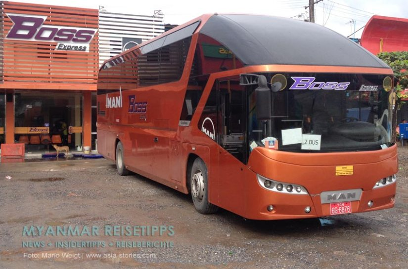 Myanmar Reisetipps | Yangon | VIP Bus 2 +1 vom Busunternehmen Boss