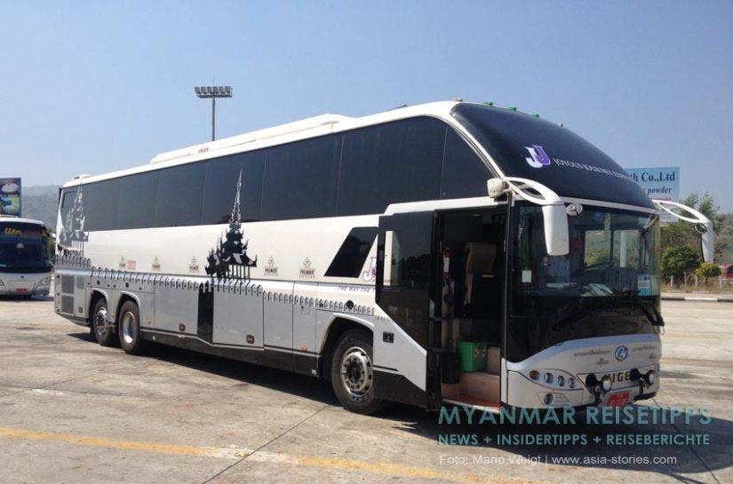 Myanmar Reisetipps | Yangon | VIP Bus 2 +1 vom Busunternehmen JJ Express