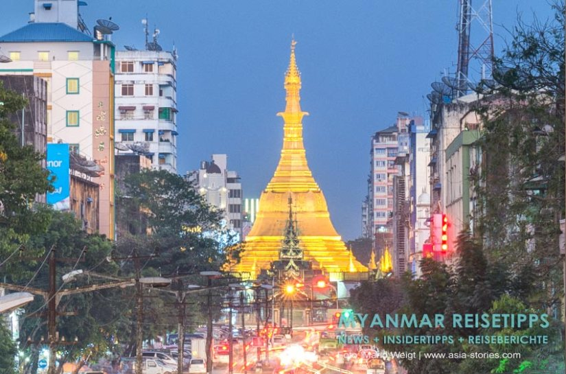Myanmar Reisetipps | Yangon | Sule Pagode am Abend