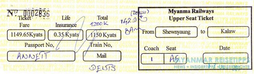 Myanmar Reisetipps | Ticket für den Zug vom Inle-See (Shwe Nyaung) nach Kalaw