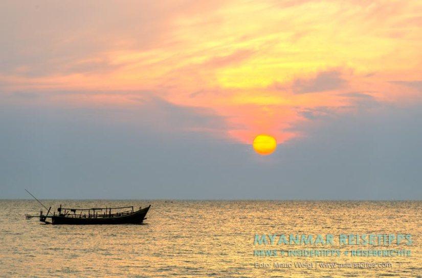 Myanmar Reisetipps | Sonnenuntergang am Ngapali Beach