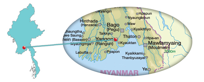 Myanmar - Karte von Yangon