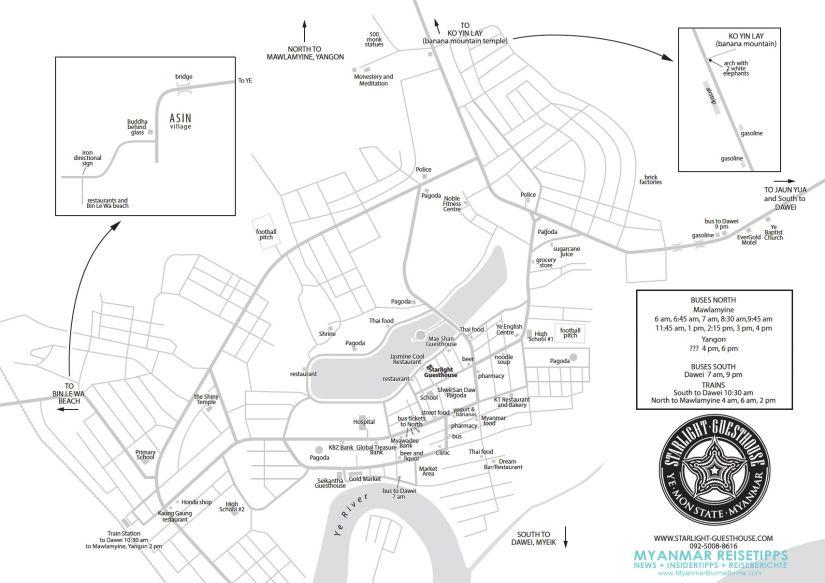 Myanmar Reisetipps | Karte von Ye | Dieser Stadtplan wurde vom Starlight Guesthouse erstellt und für die Seite MYANMAR REISETIPPS zur Verfügung gestellt.