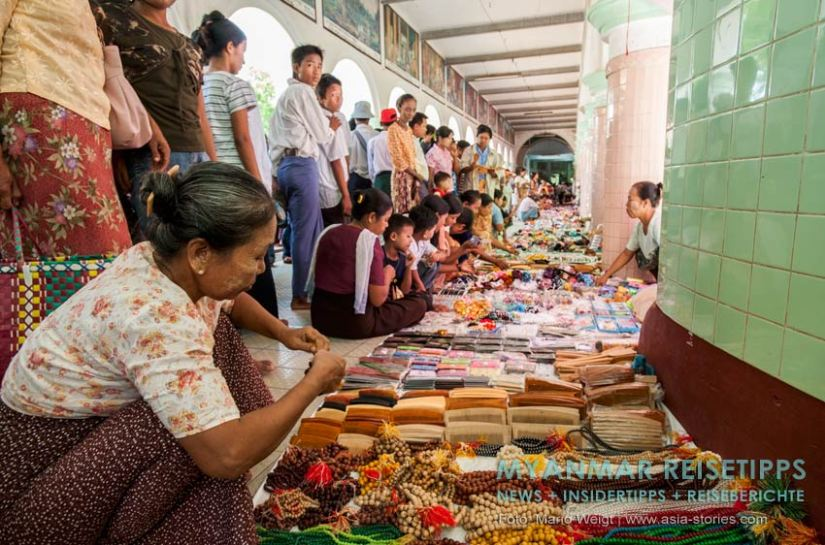 Myanmar Reisetipps | Magwe | Zum Lichterfest Thadingyut nach Magwe kommen viele Händler. Kein Fest ohne Shopping.