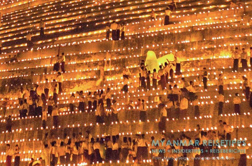 Myanmar Reisetipps   Magwe   Zum Lichterfest Thadingyut wird die Pagode Mya Tha Lun von tausenden Öllämpchen illuminiert.