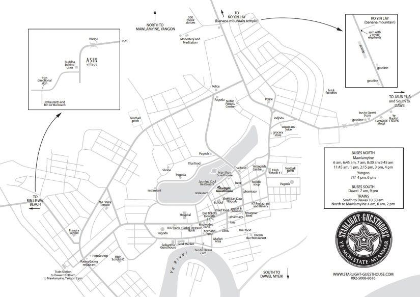 Myanmar Reisetipps | Karte von Ye | Dieser Stadtplan wurde von David aus dem Starlight Guesthouse erstellt und für unsere Seite MYANMAR REISETIPPS zur Verfügung gestellt.