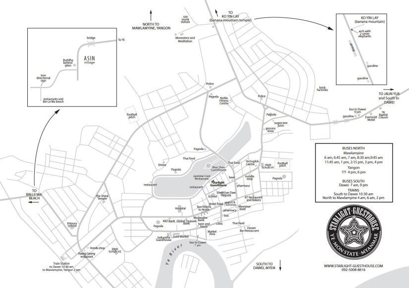 Myanmar Reisetipps   Karte von Ye   Dieser Stadtplan wurde von David aus dem Starlight Guesthouse erstellt und für unsere Seite MYANMAR REISETIPPS zur Verfügung gestellt.