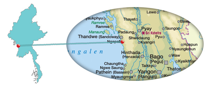 Myanmar - Karte vom Ngapali Beach